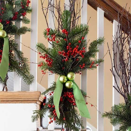 Boughs Of Holly Christmas Stairs Decorations Christmas