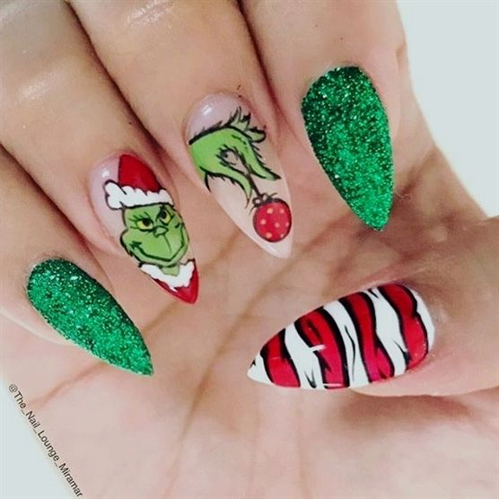 #notd Grinchmas #nails by @the_nail_lounge_miramar #christmasnails Tag #nailsmagazine for a feature #grinch #nailart #ChristmasNailDesigns