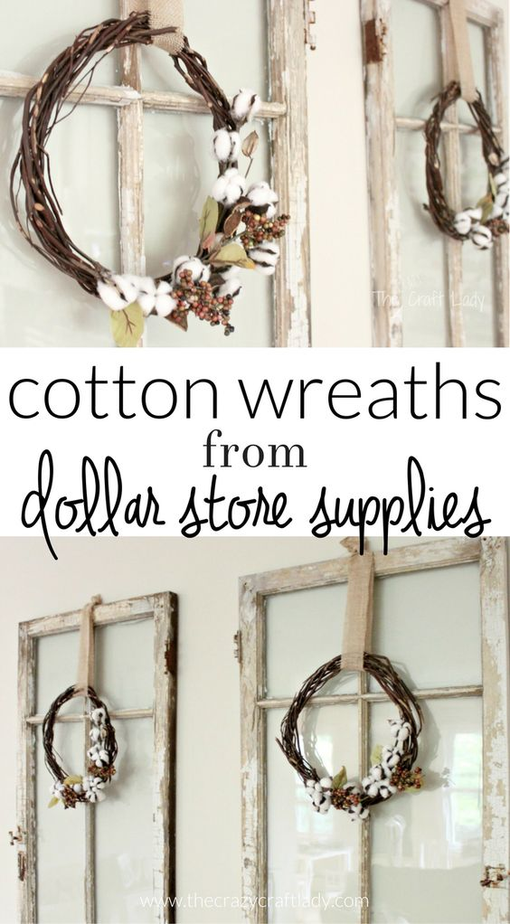 Make a Cotton Wreath using dollar store supplies - the perfect fall wreath - fall decor