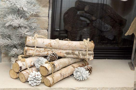 Birch Wood Fireplace decoration to match my rustic woodland Christmas mantel decor.: