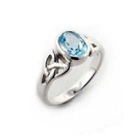 Sterling Silver Celtic Knot and Genuine Blue Topaz Ring Size 11(Sizes 4,5,6,7,8,9,10,11), (blue topaz, celtic jewelry, celtic knot, rings)
