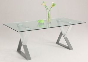 Chintaly Two-Tone Painted Base Rectangular Glass Dining Table