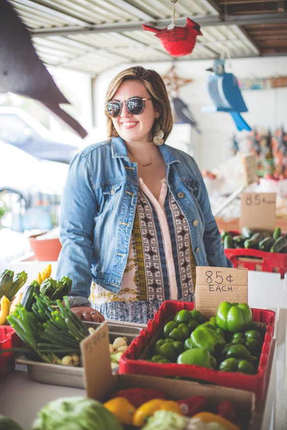 Free People dress, denim jacket, Nasty Gal platforms at the Farmer's Market