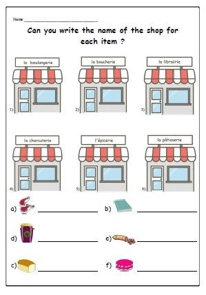 shops food french worksheet teaching resources for children primary printable ks1 ks2 matching. Black Bedroom Furniture Sets. Home Design Ideas
