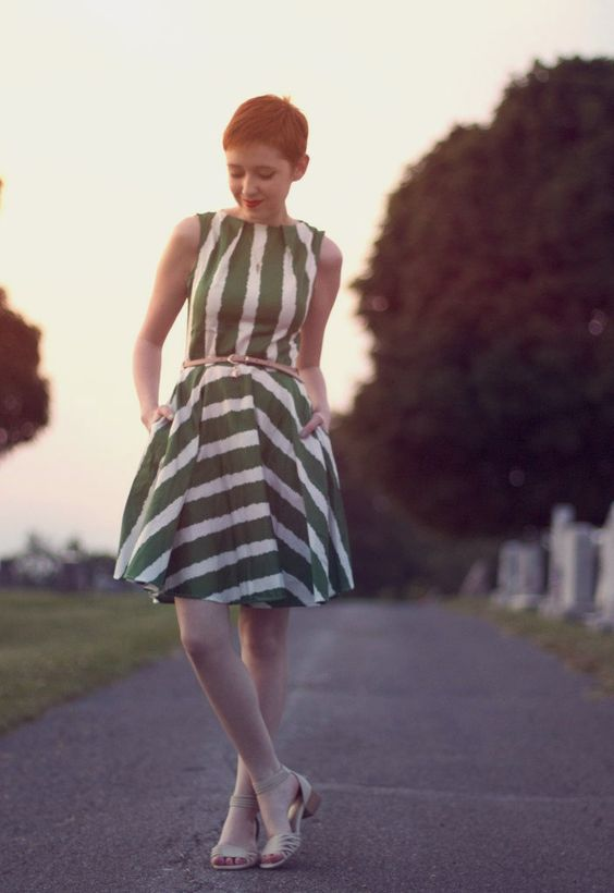 Luck Be a Lady Dress in Green Stripe