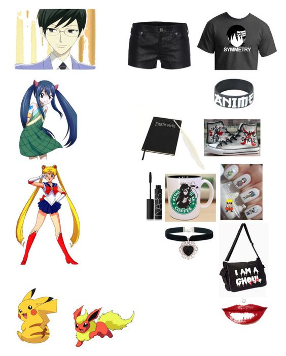 """""""Anime!!! :D"""" by amy-dc ❤ liked on Polyvore featuring True Religion, Rock 'N Rose and NARS Cosmetics"""