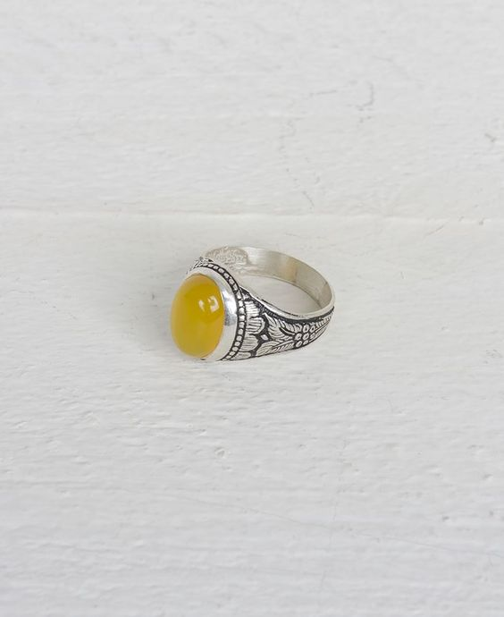 THE ALLOTMENT OVAL STERLING SILVER MIMOSA STONE RING #yellow #sterlingsilver #leeds #theallotmentstore