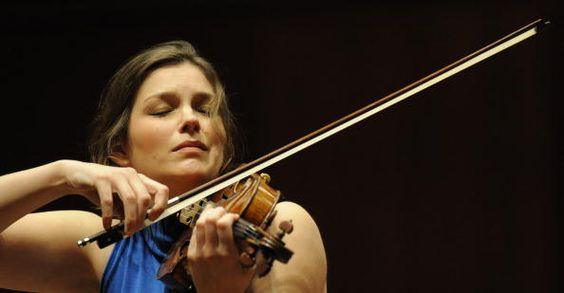 Violinist Janine Jansen puts the finishing touches on a performance during a rehearsal with The Royal Concertgebouw Orchestra of Amsterdam at the...