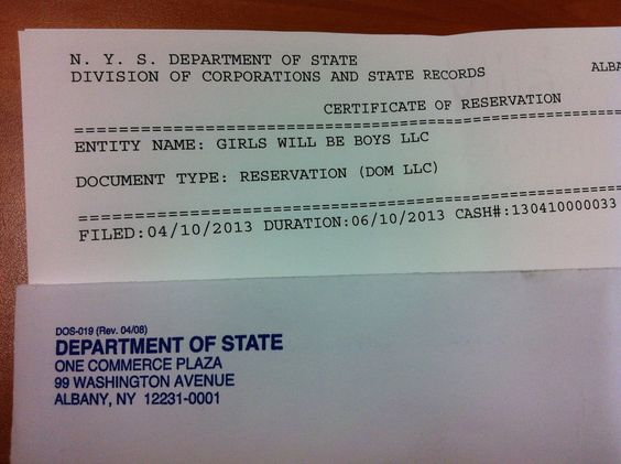 Girls Will Be Boys is registered as an LLC in NY State!!