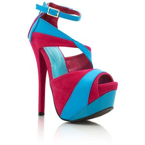 Hot pink and baby blue two-tone platform heels | Shoes Heaven ...
