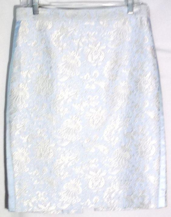 A.B.S. BY ALLEN SCHWARTZ Pale Blue-Silver Brocade/Jacquard Skirt -Side Trim - 8 #ABSbyAllenSchwartz #StraightPencil #Skirt #blue #8
