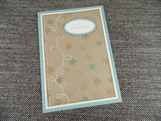 1 handgearbeitete Klappkarte mit passendem (weißen) Briefumschlag  Text: 'Frohe Weihnachten'  Farben: Blau, Kraft, Weiß, Braun    Mit viel ...