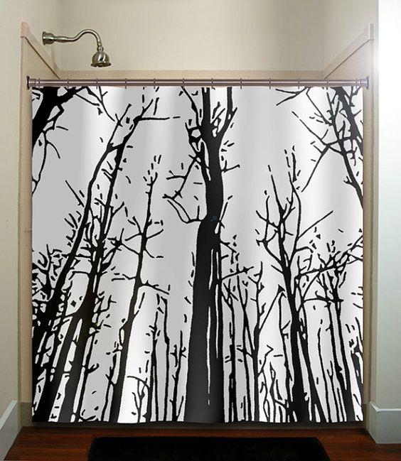 Woodland forest grove winter trees shower curtain bathroom decor ...