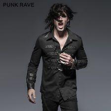 Punk rave Rock Fashion Visual Kei Vintage Heavey Metal Black Men Top Shirt Y634