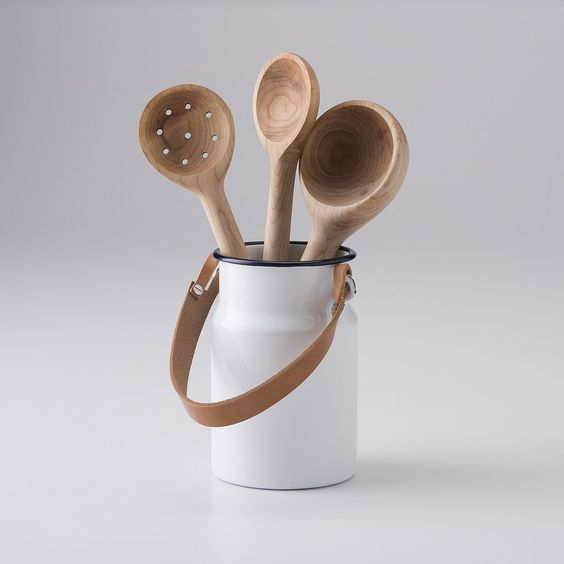 Enamel + Leather Utensil Holder   Enameled heavy-gauge steel utensil pot is optimally sized to hold a wide variety of tools and travels well thanks to a clever and functional natural leather handle.