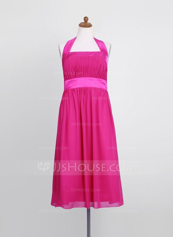 Empire Halter Tea-Length Ruffle Zipper Up Regular Straps Sleeveless Fuchsia General Chiffon Junior Bridesmaid Dress