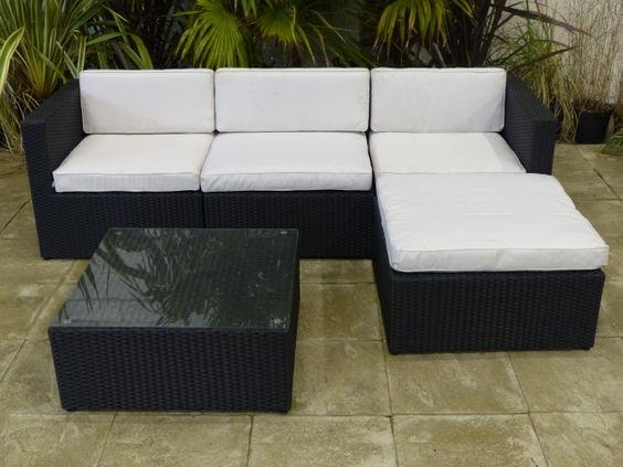 Outdoor Rattan Corner Dining Set in Black Porch furniture - rattan lounge gartenmobel