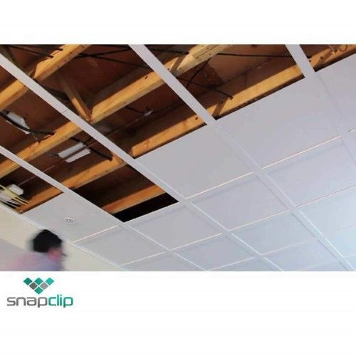 Snapclip Suspended Ceiling System In Flat Pure White Low Ceiling