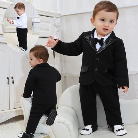 Fairy Baby Boy Formal Romper Newborn Cute Wedding Suit Long Sleeve with Bowtie