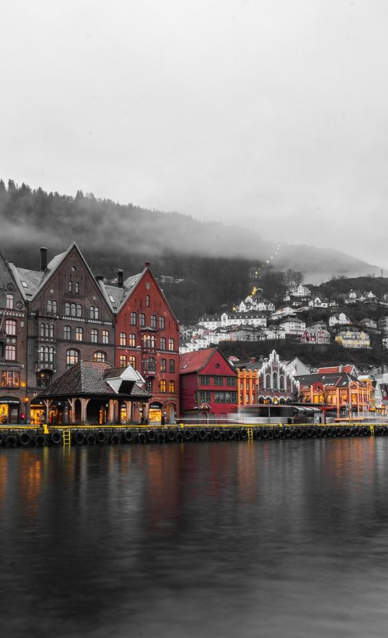 Cloudy Bergen waterfront in Norway