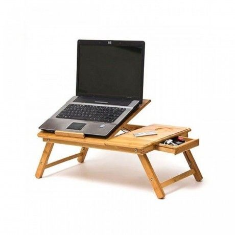 Wooden Portable Foldable Laptop Table Cooling Fan With Drawer
