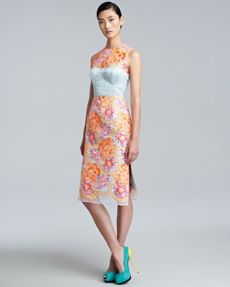 Erdem - Floral-Embroidered Sheath Dress, Neon Peach/Blue