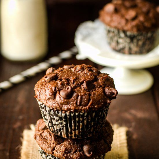 Moist Double Chocolate Chip Muffins