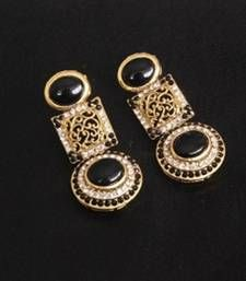 Buy Gold Plated Handcrafted Black colour Earrings hoop online
