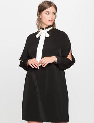 Tie Neck Split Sleeve Dress