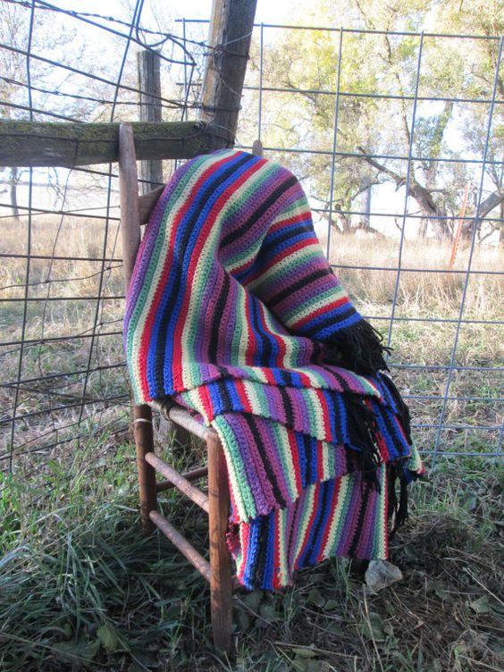 Vintage Heavy Cotton crochet Afghan blanket by Holliezhobbiez, $45.00