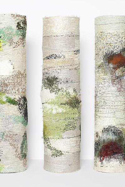 Amanda Cobbett Papier maché and machine embroidered, creative workshop