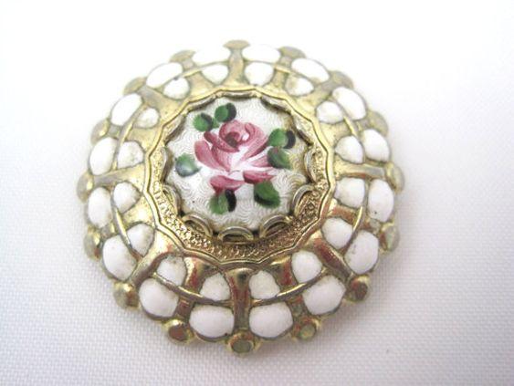 Vintage Enamel Brooch - Pink Roses Guilloche