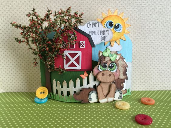 Horse and barn card