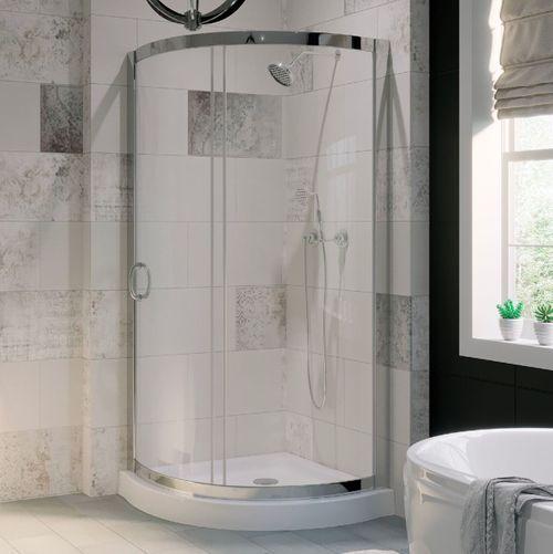 Ove Decors Breeze Chrome Acrylic Floor Round 2 Piece Corner Shower