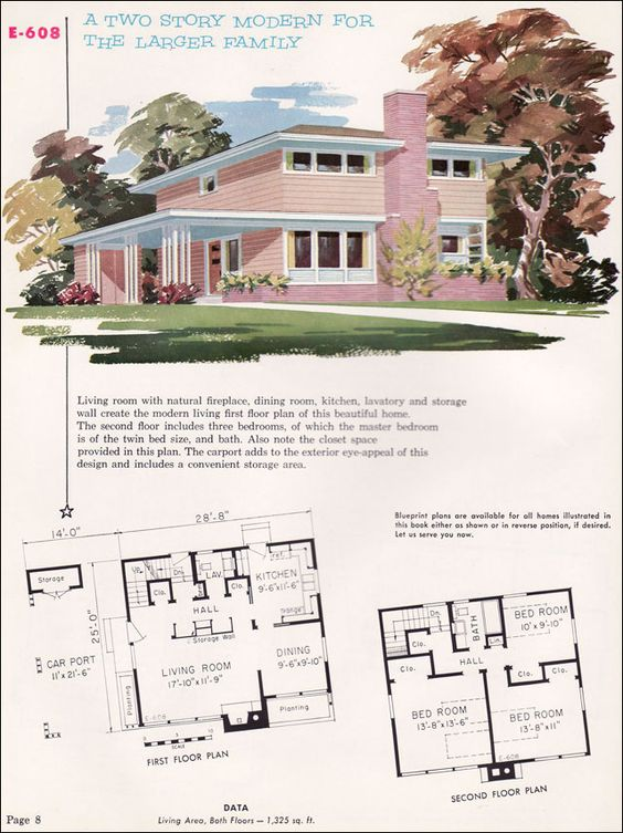 Mid Century Modern Home Plans mid century modern house plans | 1955 national plan service - plan