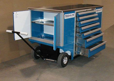 Moduline Blue Aluminum Pit Cart Garage Cabinets