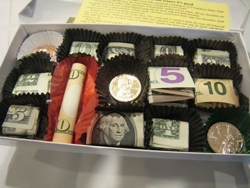 A candy box filled with money awesome christmas present for Awesome money box