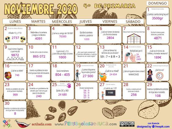 Calendario Cuarto ABN – Noviembre 2020