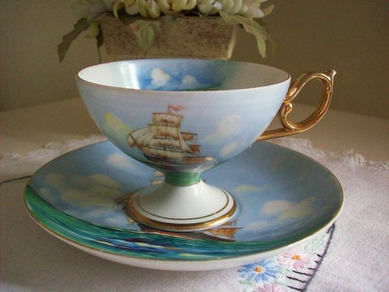 """VINTAGE TEA CUP & SAUCER ALL HAND PAINTED 14/24 """"The Summer Sea"""" Stunning   eBay"""