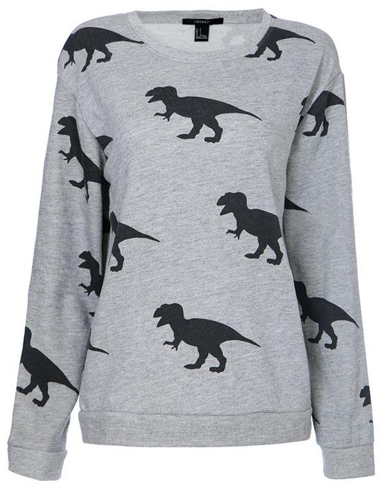 Sweat-shirt à imprimé dinosaure au col rond  EUR€23.29