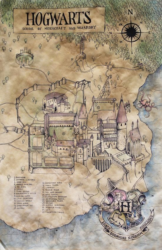 Hogwarts Karte Hp Harry Potter Kunst Harry Potter Selber