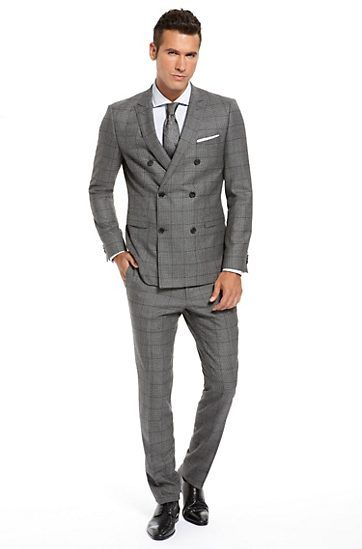 Extra Slim Fit Double-Breasted 'Rusty/Winn' Suit, Open Grey