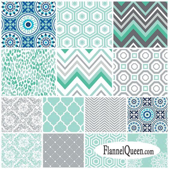 Flannel fabric mint gray blue nursery coordinates by for Grey nursery fabric