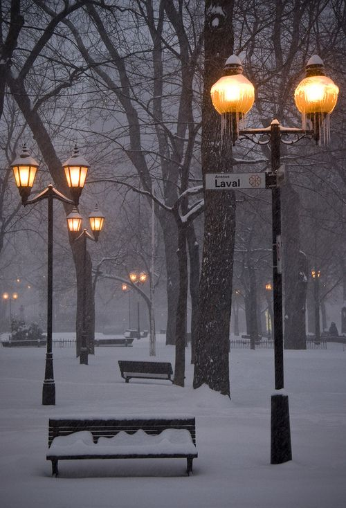 Snowy Night, Montreal, Canada: