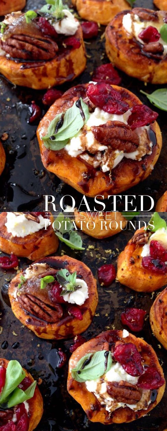 Roasted Sweet Potato Rounds with Goat Cheese, Cranberries and Balsamic Glaze