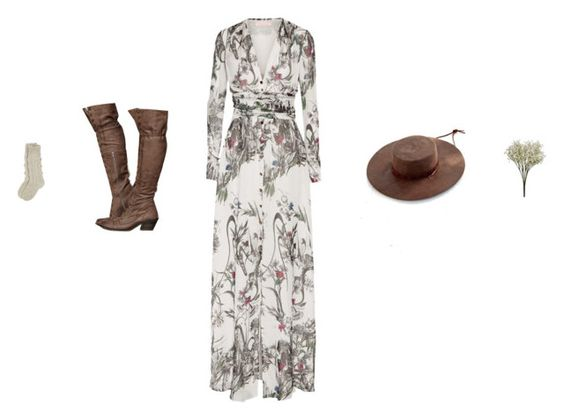"""""""Sigh"""" by amberelb ❤ liked on Polyvore featuring Matthew Williamson, Free People, Brixton, hat, maxidress, FreePeople, tallboots and knitsocks"""