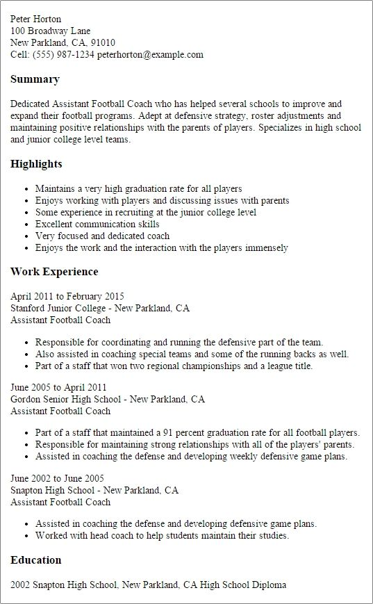Professional Assistant Football Coach Templates Showcase Resume Coach Resume Football Coach