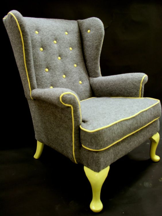 Cedrick wing back arm chair in grey boiled wool by for Interesting armchairs