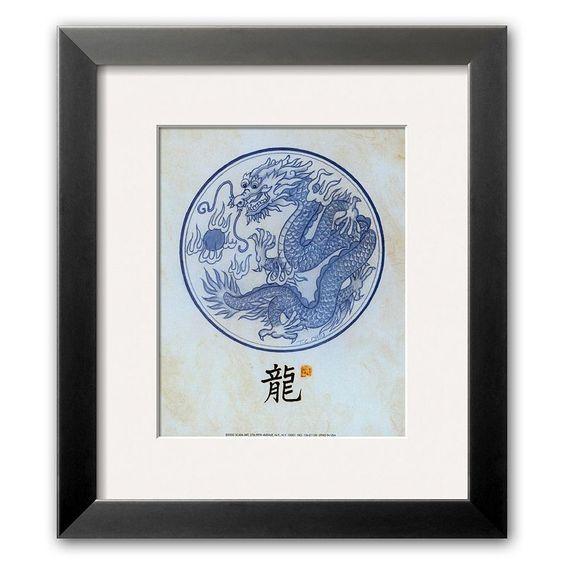Art.com Dragon Motif Framed Art Print by T. C. Chiu, Blue