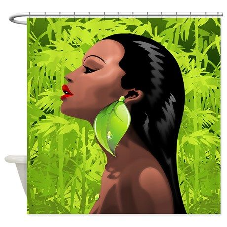 Woman African Beauty and Bamboo Shower Curtain | African beauty ...